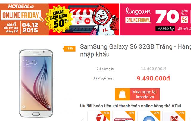 Giá bán niêm yết trên OnlineFriday của Galaxy S6 là 14.490.000 đồng
