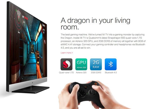 The Mi TV can also be used to play Android games.