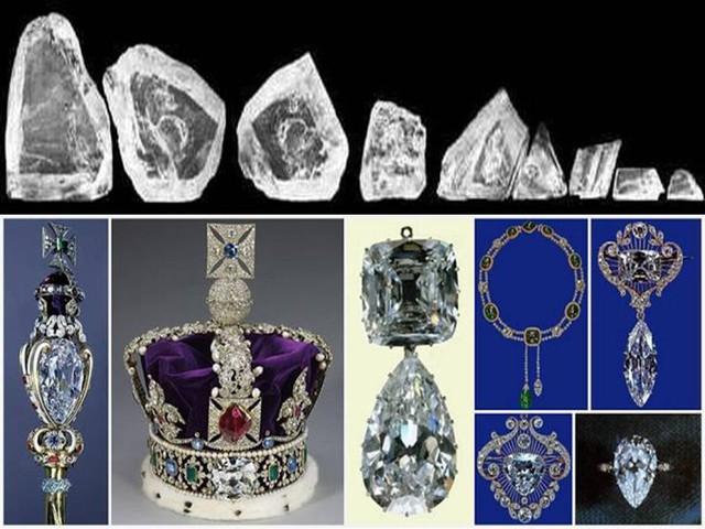 Hai viên Cullinan I và Cullinan II có khối lượng lớn nhất và lần lượt được đặt trên Quyền trượng của Vua và Vương miện của Nữ hoàng Anh