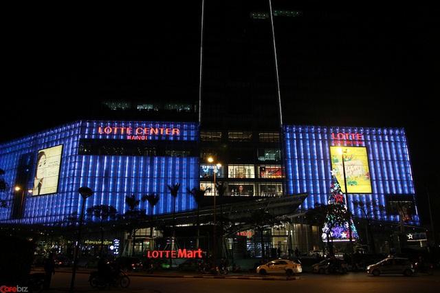 Mặt tiền trung tâm thương mại Lotte Center Hanoi, tầng ngầm là siêu thị Lotte Mart