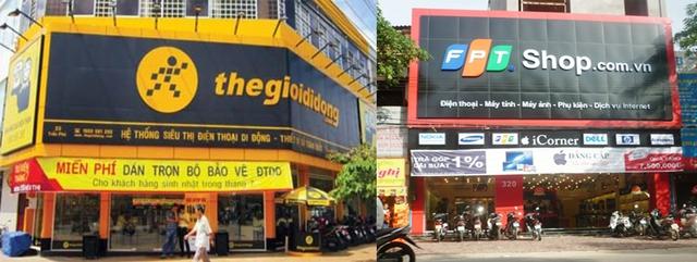 Nếu biển quảng cáo không còn bắt mắt, chắc Thế giới di động và FPT Shop cũng không muốn mở cửa hàng