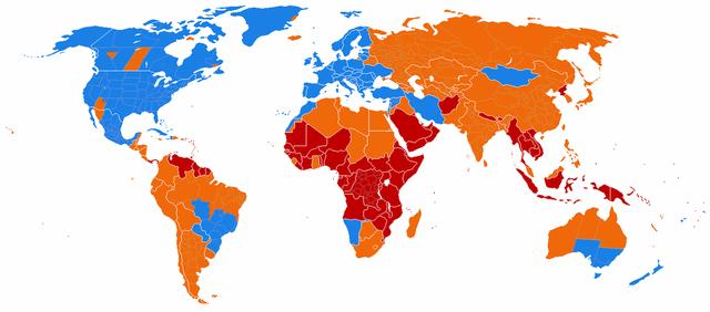 Những nước đang sử dụng DST (lam), từng sử dụng (cam) và chưa bao giờ dùng (đỏ).