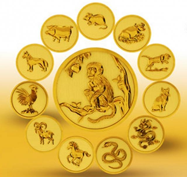 Bộ tiền vàng 12 con giáp