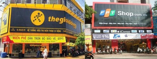 Biển hiệu rất lớn của Thế giới di động và FPT Shop