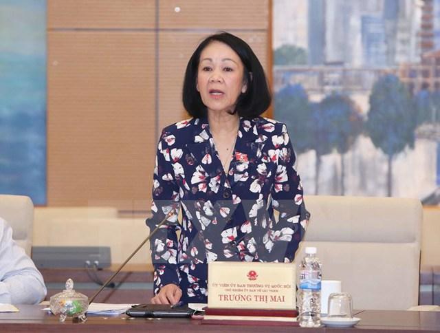 Bà Trương Thị Mai - Chủ nhiệm ủy ban các vấn đề xã hội của Quốc hội. (Ảnh: TTXVN/Vietnam+)