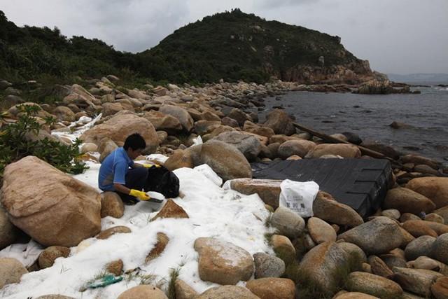Một tình nguyện viên đang thu dọn những viên nhựa độc hại ở đảo Lamma (Hong Kong) do bị đổ từ một xe tải. (Nguồn: Techinsider)