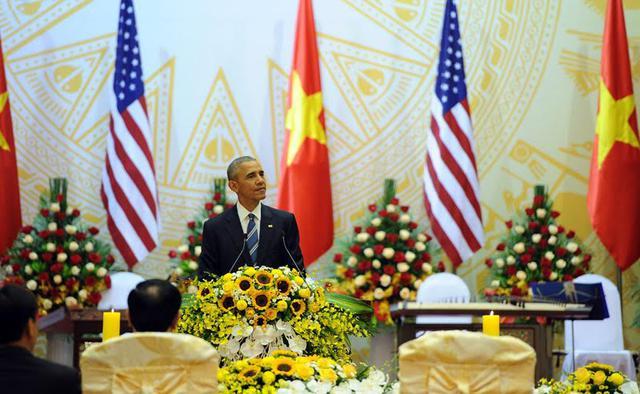 Tổng thống Mỹ Obama phát biểu tại tiệc chiêu đãi. Ảnh: Phạm Hải