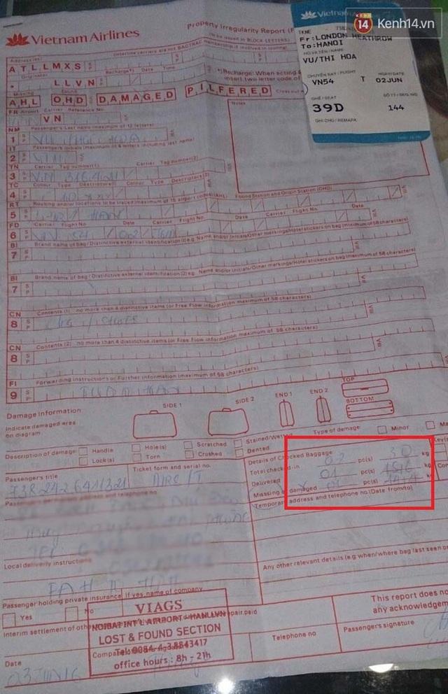 Bà Hòa ký gửi 2 kiện hành lý nhưng bị mất 1 kiện hàng 14,4kg.