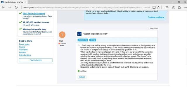 Những đánh giá trên website của Mường Thanh Nha Trang Apartment.
