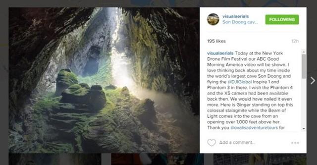 Một thành viên có tên Visualaerials trong ê-kíp sản xuất chia sẻ hình ảnh về hang Sơn Đoòng - Ảnh chụp màn hình