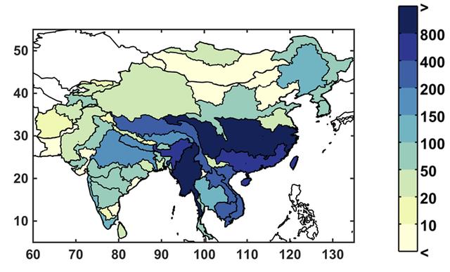 Phân bổ lưu lượng nước tự nhiên hàng năm (Đơn vị: 1 tỉ - khối nước)