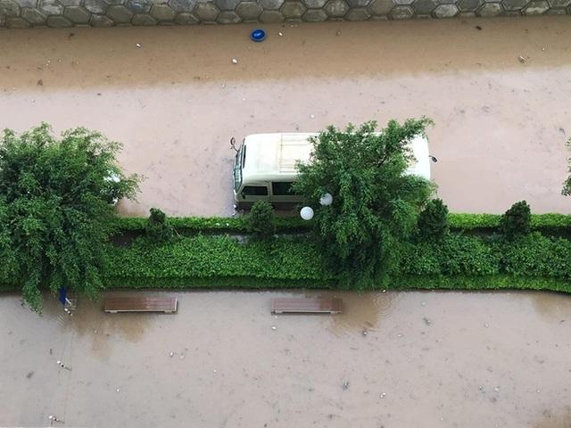 Các ô tô đồng loạt chết máy vì ngập nước.