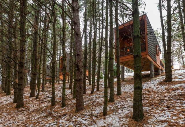 Khu nhà nghỉ cho dân du lịch rừng này được xây dựng tại rừng nguyên sinh Minnesota.