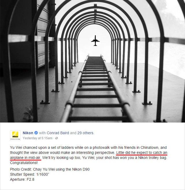 """(dòng gạch chân: Anh ta đâu ngờ sẽ chộp được khoảnh khắc một chiếc máy bay giữa không trung"""")"""