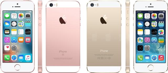 Nếu không có màu hồng thì có lẽ bạn cũng khó biết bên trái là iPhone SE còn bên phải là iPhone 5s.