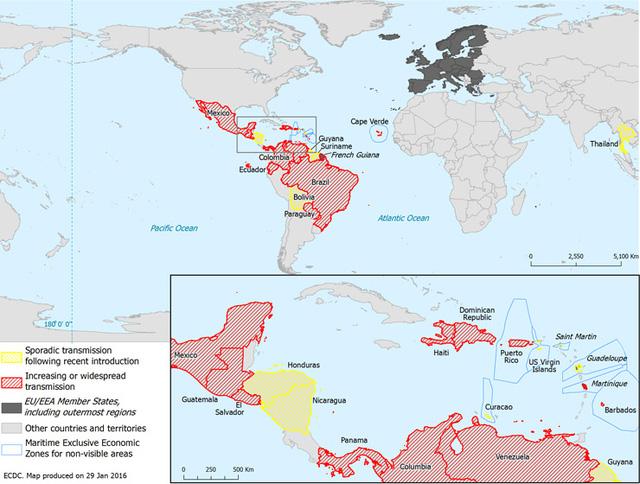 Những vùng đang bị lây lan mạnh virus Zika (màu đỏ) và lây lan rải rác (màu vàng) trong 2 tháng qua.