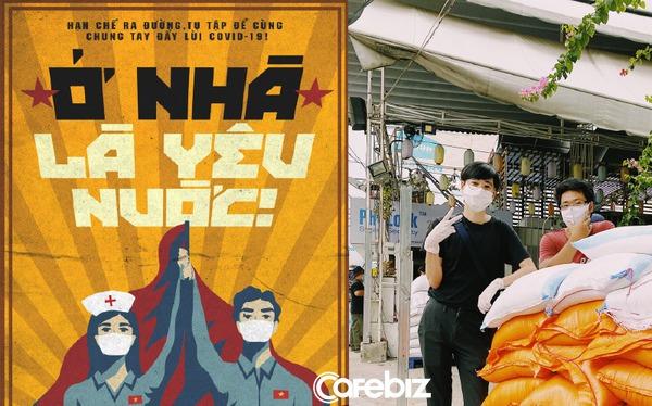 """Bán poster cổ động """"Ở nhà là yêu nước"""", đóng góp cho ATM gạo, hoạ sĩ trẻ chung tay giúp người nghèo vượt đại dịch Covid-19"""