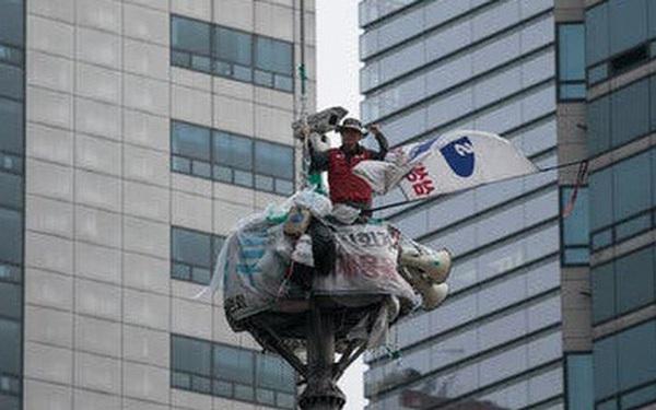 Sống 355 ngày trên trụ đèn giao thông ngay giữa thủ đô để phản đối quyết định đuổi việc của Samsung