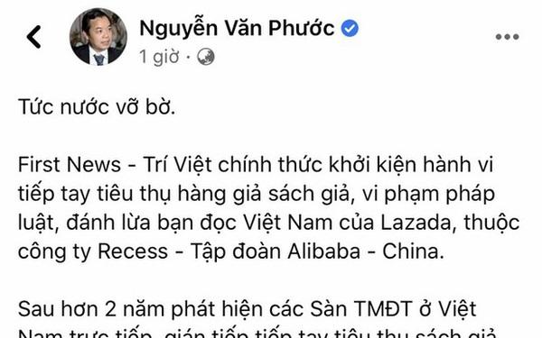 Nóng: Nhà sách Việt Nam First News chính thức khởi kiện sàn TMĐT Lazada