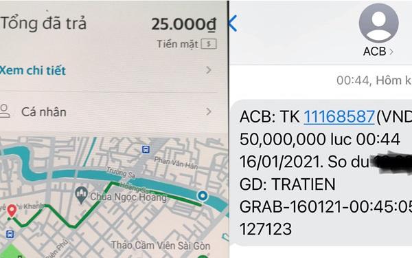 Nửa đêm bắt cuốc xe 25.000 đồng, tip thêm 25.000 đồng, một hành khách chuyển khoản nhầm thành 50 triệu, liên lạc với tài xế đòi không được