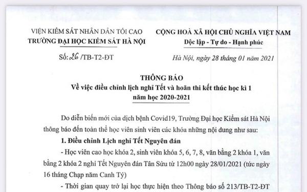 Trường ĐH đầu tiên điều chỉnh lịch nghỉ Tết Nguyên đán và hoãn thi kết thúc học kỳ vì dịch Covid-19