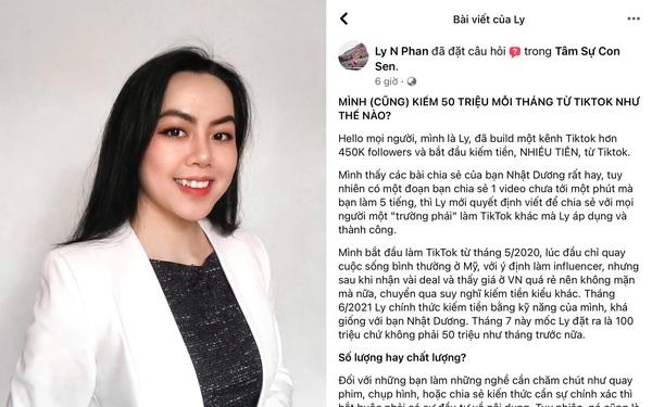 Cô gái chia sẻ cách kiếm 50 triệu mỗi tháng từ Tiktok và nhận hàng loạt tranh luận của dân mạng vì nguyên do này