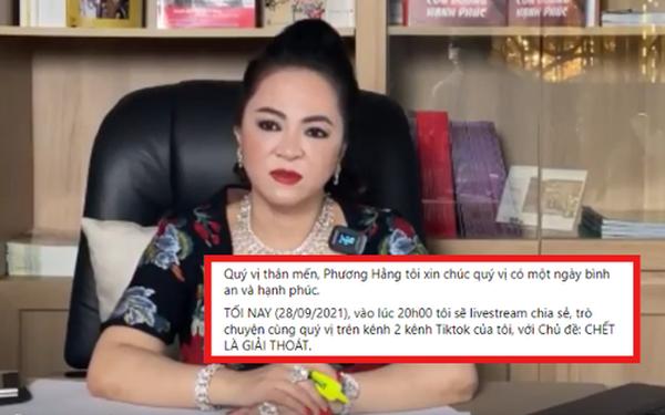 """Bà Phương Hằng bất ngờ thông báo buổi trò chuyện với nội dung """"Chết là giải thoát"""", CĐM để lại phản ứng gây bất ngờ"""