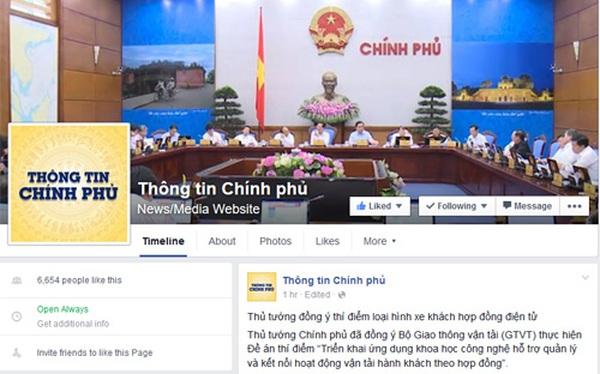 Chinhphu.vn đã lên Facebook