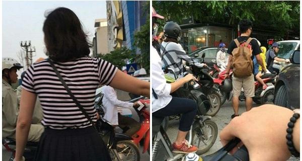 """Hành động của đôi bạn trẻ khiến người đi đường Hà Nội """"đứng hình"""""""
