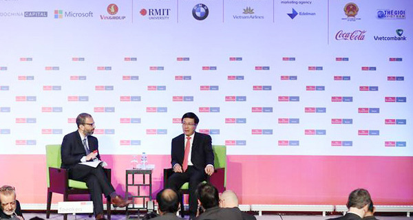 """Phó Thủ tướng Phạm Bình Minh: """"Thay vì dùng sức người, Việt Nam sẽ đẩy mạnh sử dụng tri thức trong sản xuất"""""""