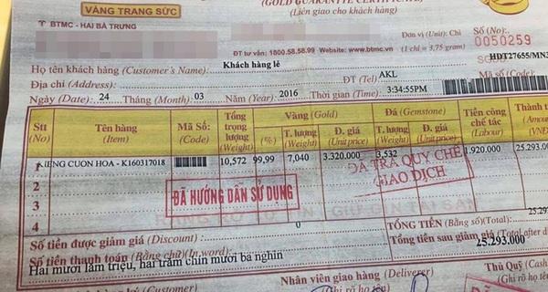 Bảo Tín Minh Châu nhận sai vụ bán kiềng vàng 7 chỉ nhưng giá trị thực có 6 chỉ