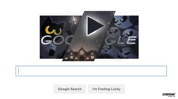 """Giải lao giữa giờ bằng game """"diệt ma"""" trên trang chủ Google nhân dịp lễ Hallowen"""
