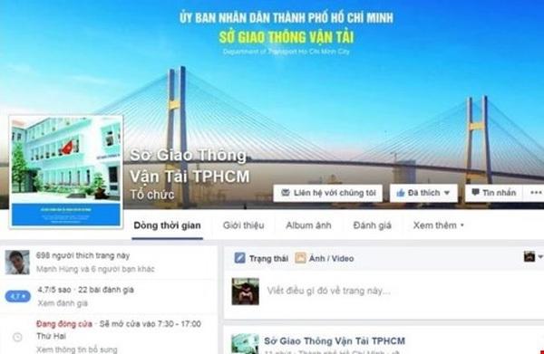 Sau số điện thoại nóng của ông Đinh La Thăng, Sở GTVT có Facebook