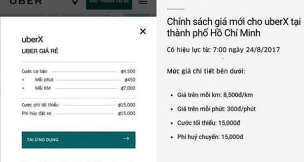 Uber tiếp tục tăng giá cước tại TP HCM