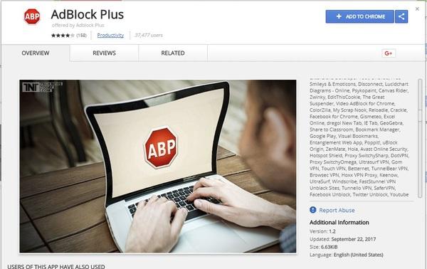 Cảnh báo: 37.000 người dùng đang sử dụng tiện ích chặn quảng cáo Adblock Plus giả mạo