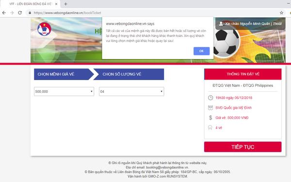 VFF chính thức lên tiếng: Mới chỉ có 5.000 vé được bán online thành công