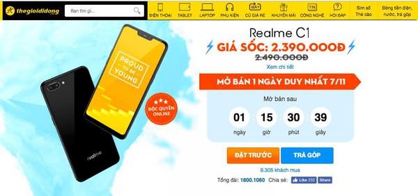 Đã có hơn 10.000 lượt đặt mua Realme C1 chỉ sau 5 ngày