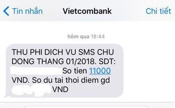 Phí SMS – Banking Vietcombank tăng lên 11.000 đồng: Chỉ là tin nhắn lỗi