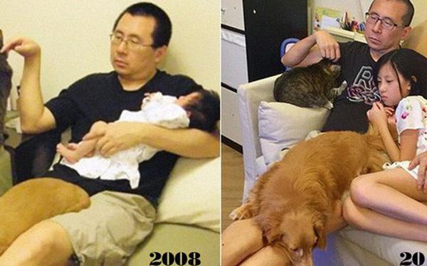 Mỗi năm chụp một bức ảnh bố và con gái giống hệt nhau, 10 năm sau bộ ảnh khiến nhiều người cảm động