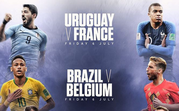 Chi tiết lịch thi đấu vòng tứ kết World Cup 2018