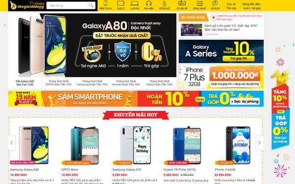 Điện thoại bão hòa, website Thế Giới Di Động tụt hạng chóng mặt trên bản đồ thương mại điện tử Việt Nam