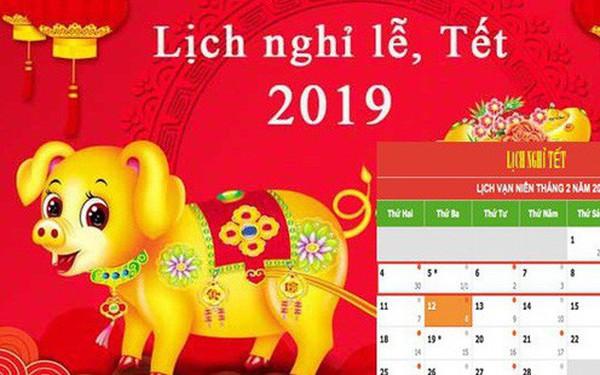Lịch nghỉ Tết Nguyên đán Kỷ Hợi và các ngày lễ trong năm 2019