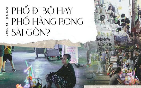 Còn đâu phố đi bộ Nguyễn Huệ: Hàng rong bủa vây, ghế nhựa tràn lan lối đi cho khách ngồi ăn uống