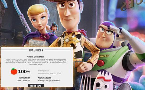 Toy Story 4 được khen ngợi tuyệt đối với 100% đánh giá tích cực trên Rotten Tomatoes