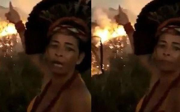 Dân bản địa Brazil gào khóc trước cảnh tượng rừng Amazon bốc cháy: