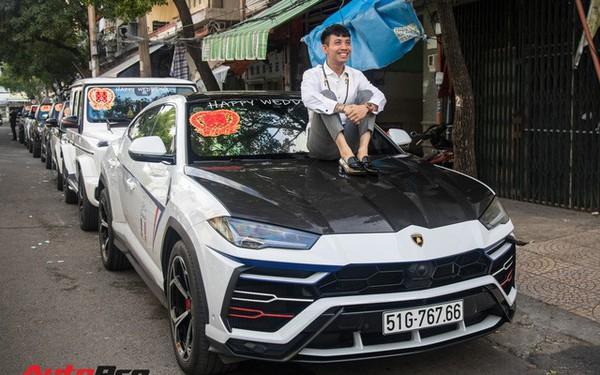 Minh 'Nhựa' ngồi đầu xe Lamborghini Urus dẫn dầu dàn xe hơn 100 tỷ đồng phục vụ đám cưới cô con gái
