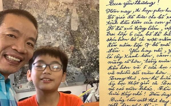 """Thư tay """"xịn xò"""" của nhạc sĩ Nguyễn Vĩnh Tiến gửi con trai với nét chữ đẹp gây thương nhớ, đọc nội dung còn khiến người ta trầm trồ hơn"""