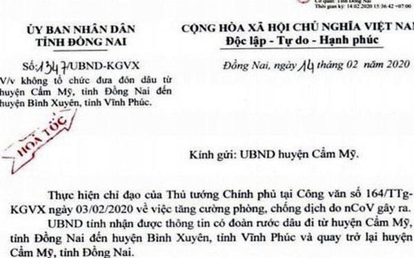 Một đám cưới ở Đồng Nai không tổ chức ra Vĩnh Phúc đón dâu để phòng chống dịch