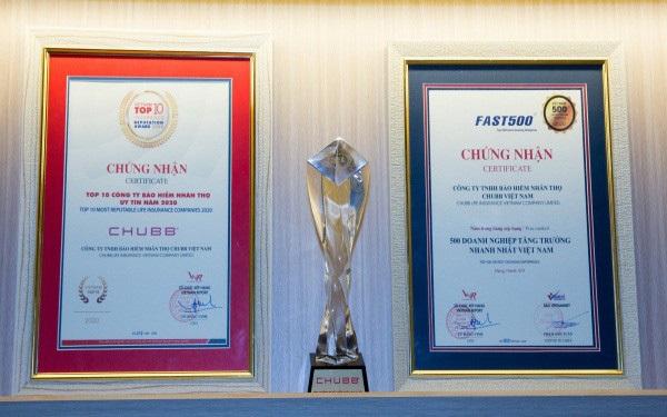 Chubb Life Việt Nam được vinh danh là doanh nghiệp Bảo hiểm Nhân thọ uy tín