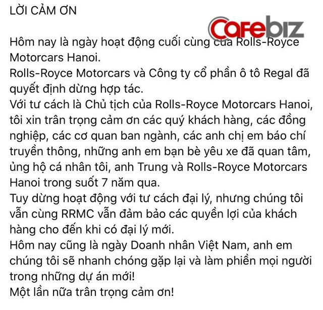 Đại lý xe siêu sang Rolls Royce duy nhất tại Việt Nam chính thức ngừng hoạt động - Ảnh 1.